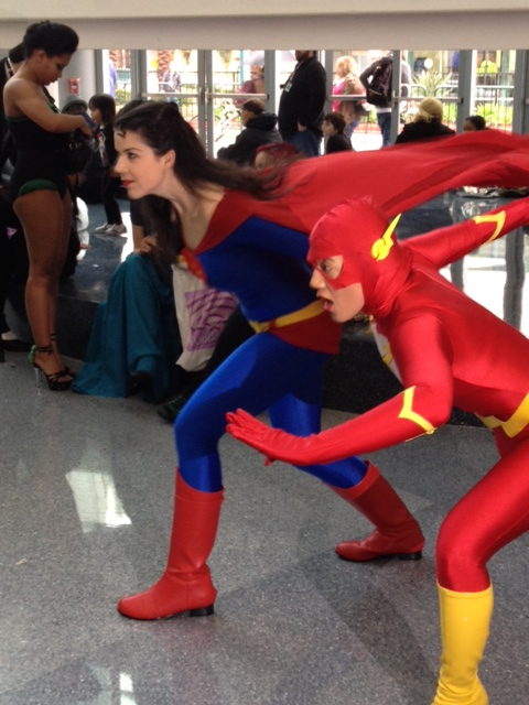 Superwoman racing the Flash